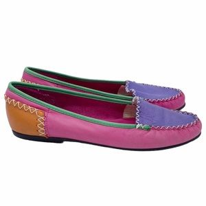 Vintage Colorblock Leather Flats 90s Pink 8.5